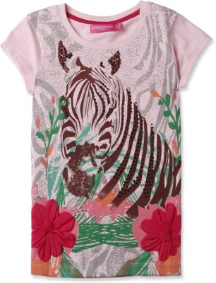 London Fog Casual Short Sleeve Graphic Print Girl's Pink Top