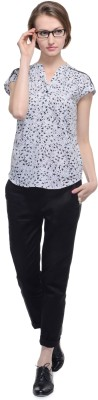 A Luv Ya Casual Cap sleeve Printed Women's White, Black Top