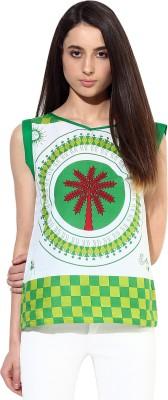JaipurKurti Casual Sleeveless Printed Women's Green Top