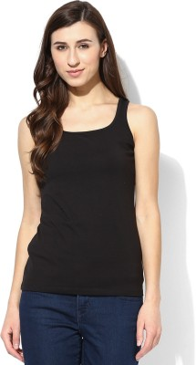 Tshirt Company Casual Sleeveless Solid Women's Black Top