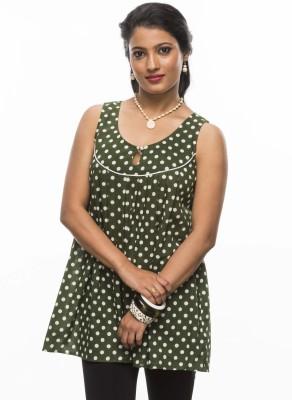 Moda Vastra Casual Sleeveless Polka Print Women's Dark Green, White Top