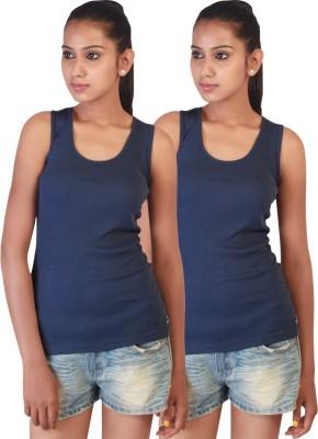 Twin Birds Casual Sleeveless Solid Women's Dark Blue Top