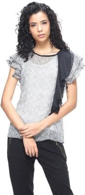 HANGNHOLD Casual Short Sleeve Printed Women's Grey Top