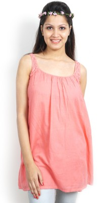 Bay & Blue Casual Short Sleeve Solid Women's Pink Top