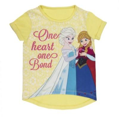 Frozen Casual Short Sleeve Printed Baby Girl's Yellow Top
