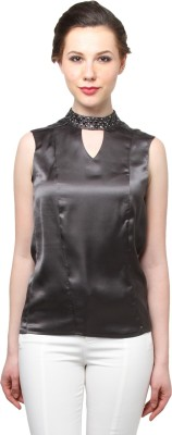 Moderno Party Sleeveless Embellished Women's Grey Top