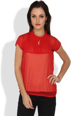 Ten on Ten Casual, Party Short Sleeve Solid Women's Red Top