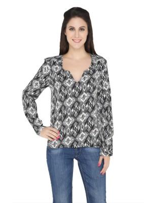The Beach Company Casual Full Sleeve Geometric Print Women's Black Top