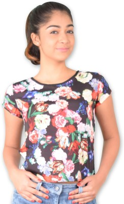 Riot Jeans Casual Short Sleeve Floral Print Women's Black Top