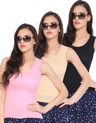Rham Casual Sleeveless Solid Women's Beige, Black, Pink Top