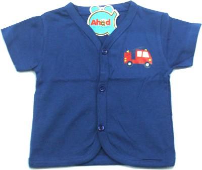 Ahad Casual Short Sleeve Solid Baby Girl's Dark Blue Top