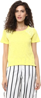 BLUE ISLE Casual Short Sleeve Self Design Women's Yellow Top