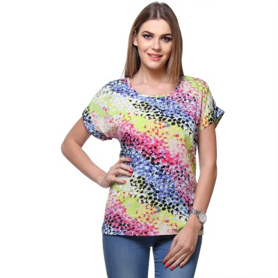Saffora Fashion Casual Short Sleeve Printed Women's Multicolor Top