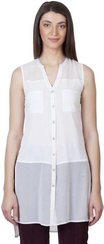 Iralzo Casual Sleeveless Solid Women's White Top
