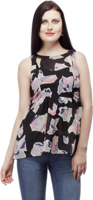 PrettyPataka Casual Sleeveless Floral Print Women's Black Top