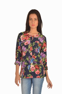 Bombay High Casual Full Sleeve Floral Print Women's Dark Blue Top