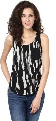 Harpa Casual Sleeveless Printed Women's Black Top at flipkart