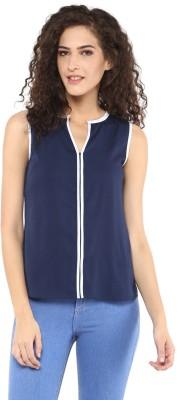 C2 Casual Sleeveless Solid Women's Dark Blue Top