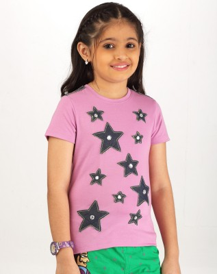 Ventra Casual Short Sleeve Applique Girl's Pink Top