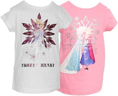 Parv Collections Casual Cape Sleeve Printed Girl's Pink Top