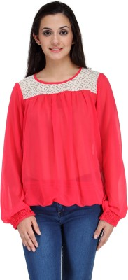 Motif Casual Full Sleeve Solid Women's Red Top
