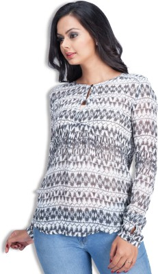 Colsa Casual Full Sleeve Printed Women's White Top