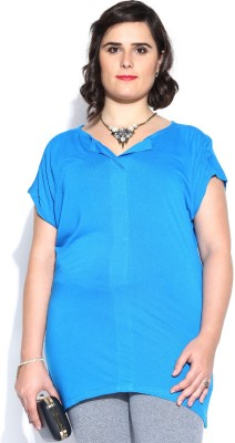 D Muse by DressBerry Casual Short Sleeve Solid Women's Blue Top at flipkart