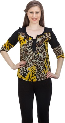FASHIONHOLIC Casual 3/4 Sleeve Animal Print Women's Black Top