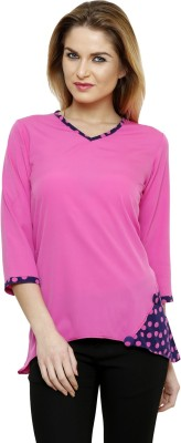 Ritzzy Casual 3/4 Sleeve Solid Women's Pink Top