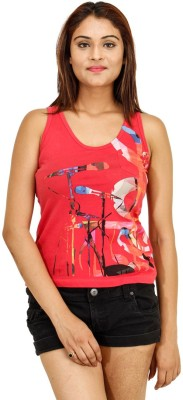 Opiumstreet Casual Sleeveless Printed Women's Red Top