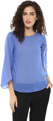Magnetic Designs Casual Full Sleeve Solid Women's Blue Top