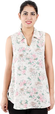 LEELA Casual, Party, Festive Sleeveless Floral Print Women's Multicolor Top
