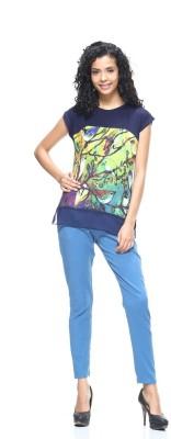 HANGNHOLD Casual Short Sleeve Printed Women's Dark Blue Top