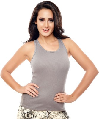 Coucou by Zivame Casual Sleeveless Solid Women's Grey Top