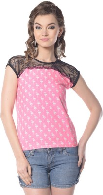 Trendy Divva Casual Short Sleeve Polka Print Women's Pink Top