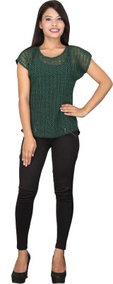 TUC Casual Cape Sleeve Solid Women's Green, Black Top