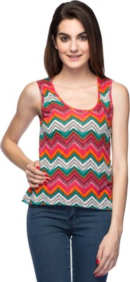 Unshackled Casual Sleeveless Geometric Print Women,s Multicolor Top