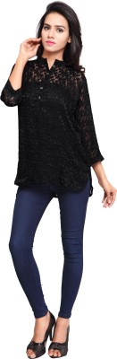 Cherryplus Casual, Party Full Sleeve Solid Women's Black Top