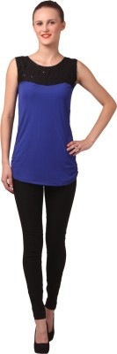 London Off Party Sleeveless Embellished Women's Blue Top