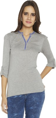 Globus Casual 3/4 Sleeve Solid Women's Grey Top