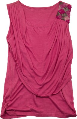 Pure Nautanki Casual Full Sleeve Solid Girl's Pink Top
