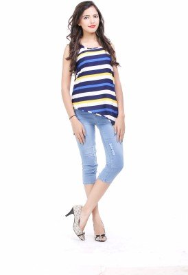 LOUISE BERRY Casual Sleeveless Striped Women's Multicolor Top