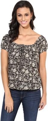 Indibox Casual Balloon Sleeve Floral Print Women's Black Top