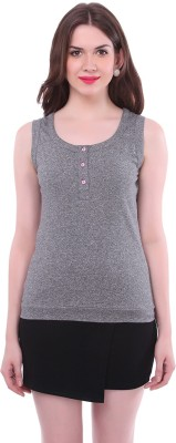Colors Couture Casual Sleeveless Solid Women's Grey Top