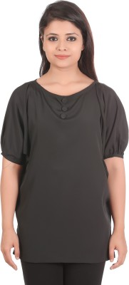 sap Casual, Formal Short Sleeve Solid Women,s Black Top