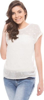 Shuffle Casual Short Sleeve Solid Women's White Top