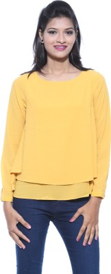 Pepe Casual Full Sleeve Solid Women's Gold Top