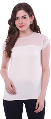 Colors Couture Casual Short Sleeve Solid Women's White Top