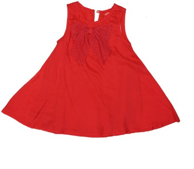 Elle Casual Sleeveless Solid Girl's Red Top