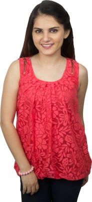 Kaaf Fashion Casual, Party, Festive Sleeveless Floral Print Women's Pink Top